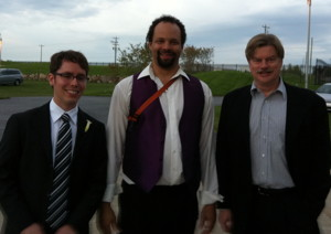 James, Marcus and George at Marcus's wedding.