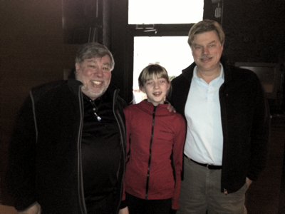 Montreal, Feb 11, 2013 - Steve Wozniak, originator of the first BASIC for Apple computers, and George Henne, the originator of the latest. Mr. Henne's daughter is in the middle.